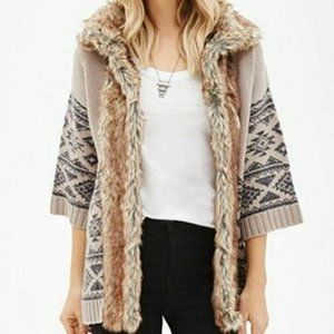 Forever 21 Knit Sweater Coat Cream Faux Fur Lining